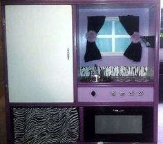 purple heaven play kitchen from an old entertainment center.  Custom Made Large Custom Wooden Play Kitchen