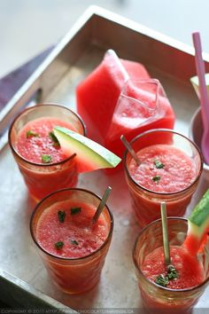 Mint and watermelon juice