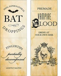 Halloween Poison Label Set