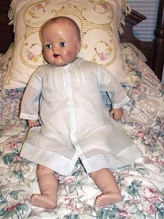 "Antique Baby Dress Embroidered 30s-40s fits 24-26"" Reborn Bisque Compo DOLL"