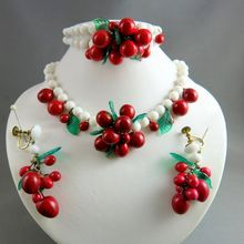 Mid Century White Milk Glass Beaded Parure with Cherries – Signed
