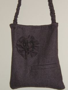 Upcycled Wool jacket hand bag  lavender Color