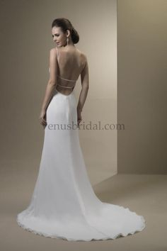 Ultra low back wedding dress with empire waist front