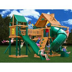 I'd be the coolest mom in the entire world if I got this for Lailyn. lol Only $2,600....   Gorilla Playsets Catalina Wooden Swing Set