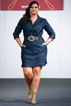 Denim button-up dress with wide belt and sexy, strapped sandals #denim #dress #plus_size_fashion