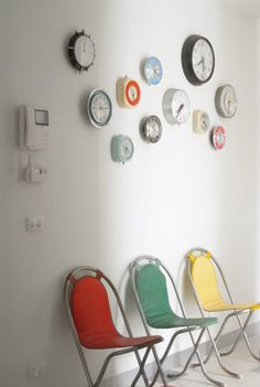 Wall Clocks Collection Displayed on the Wall