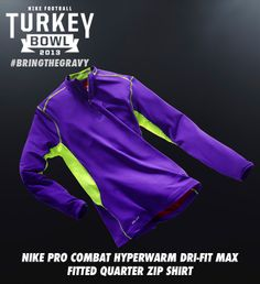 Gear up with the Nike Pro Combat Hyperwarm Dri-FIT Max Fitted Quarter Zip Shirt. http://www.dickssportinggoods.com/family/index.jsp?categoryId=13359384 #bringthegravy