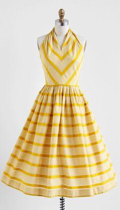 vintage 1950s marigold yellow chevron stripe #dress #fashion #1950s #partydress #vintage #frock #retro #sundress #feminine