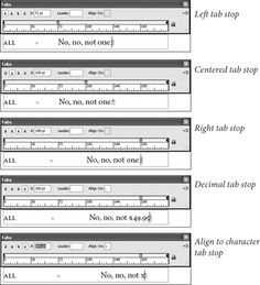 Types of Tab Stops, Display the Tabs panel (press Command-Shift-T/Ctrl-Shift-T),