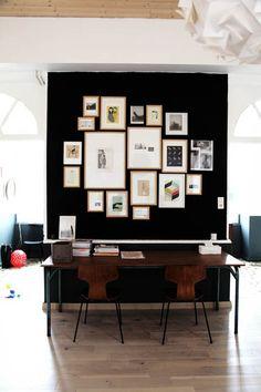 dark gallery wall