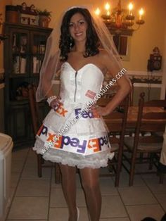 Homemade Mail Order Bride Costume Idea: I am a fan of really original and fun Halloween costumes. This year I had a pretty strict budget and I really had to get the creative juices flowing.