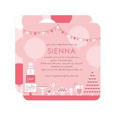 Divine Desserts: Medium Pink Baby Shower Invitations