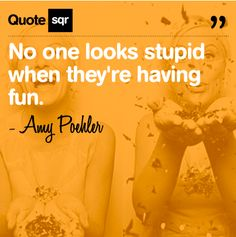 No one looks stupid when they're having fun. - Amy Poehler