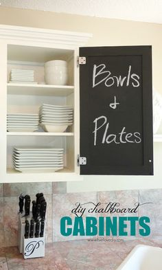 DIY Chalkboard Paint Kitchen Cabinets! Tons of great budget ideas to add character to a kitchen!