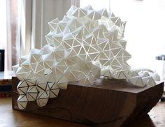 Geometric Paper and Walnut sculpture