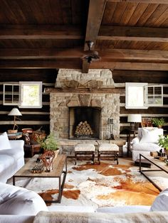 coffee tables, cabin, living rooms, cottage houses, cowhide rugs, cottages, cottage style, stone fireplaces, design