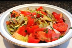 Braised Aubergine with Leeks and Tomatoes
