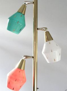 Mid-Century Modern •~• aqua/teal/turquoise, pink, and white tension pole lamp