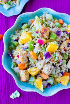 Orange Ginger Tempeh and Brown Rice Salad with Orange Balsamic Vinaigrette by loveefeggiesandyoga:  (Vegan, gluten free if gluten-free tempeh is used) #Salad #Veggie #Tempeh #Brown_Rice #Orange