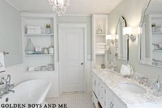 elegant master bath remodel with built-in shelving, featured on Remodelaholic.com