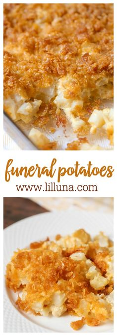 Our all-time favorite side dish - Cheesy Potato Casserole aka Funeral Potatoes. Ingredients include frozen hash browns, cheese, corn flakes, cream of chicken soup, & butter!
