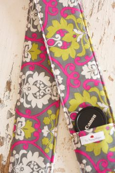 Camera Strap Cover with Lens Cap Pocket, Gray, Pink and Green