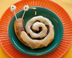 snails, idea, fun food, sweet, roll snail, cinnamon rolls, breakfast, funni food, cute kid snacks