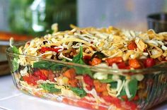 Stacked Roasted Vegetable Enchiladas Casserole