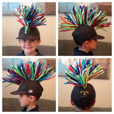 Our 100 days of school hat came out totally awesome!!  Pipe cleaners twisted together onto one strand and then safety pinned to any hat :)
