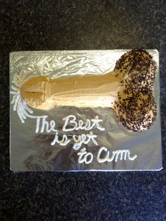Penis rice crispy cake for a bachelorette party! Free handed the shape of the penis. Home made butter cream icing and used ivory food coloring. After icing, I sprinkled chocolate sprinkles for a more realistic appeal;) then used white icing to get the message across!