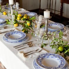Blue and White Table setting with a touch of yellow and green