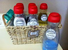 Laundry Organization. Coffee creamer bottles as detergent