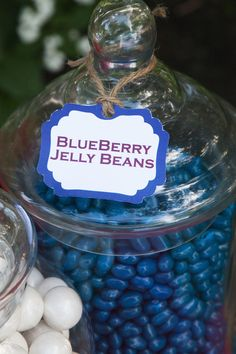 Blueberry jelly beans in glass jar