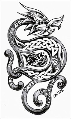 dragons tattoo idea, celtic knots, celtic design, dragons, art, dragon tattoos, celtic dragon, tattoo design, ink