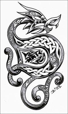 tattoo idea, celtic knots, celtic design, dragons, art, dragon tattoos, celtic dragon, tattoo design, ink