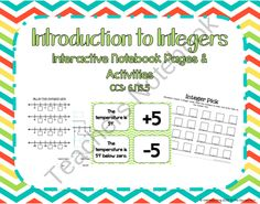 Introduction to Integers Interactive Notebook Pages & Activities CCS: 6.NS.5 product from To-The-Square-Inch on TeachersNotebook.com