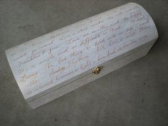 "Love letter box - The bride and groom write a ""love letter"" to each other, put it in the box with a bottle of wine, nail it shut at ceremony and then open it on a special anniversary (10th, 25th). We do this all the time. LovingUnity.com"