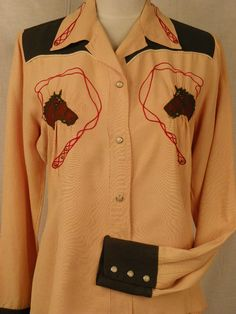Vintage 1940's / 50's Womens Rayon and Gabardine Embroidered Horse Head Western