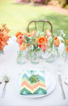 orange and mint wedding, mint orange wedding, mint and coral table decor, orang teal, teal blue, spring wedding colors orange, blue weddings, place, flower orang