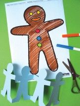 Paper gingerbread men.  Decorate a paper gingerbread man or make a gingerbread men paper chain.