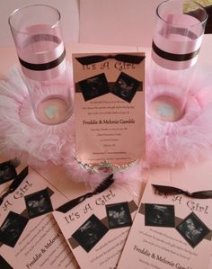 Princess Tutu centerpieces and invitations - Pink and Chocolate