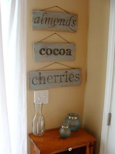 diddle dumpling: Tutorial: Vintage-looking painted sign from salvaged wood. How to print the words and transfer to your wood.