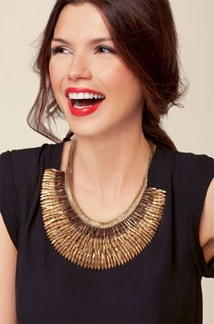 Stella & Dot metal feathered necklace