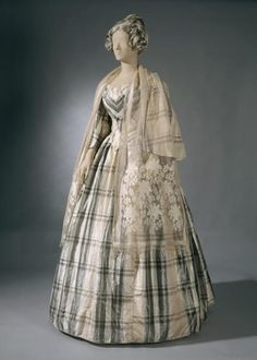 A lovely neutral hued striped gown from 1850.  #clothing #fashion #Victorian #dress #woman #costume #vintage #19th_century #1800s the national, costum, woman fashion, ball gowns, cloth, crinolin dress, victorian dresses, ballgown, 1850s