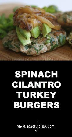 Spinach Cilantro Turkey Burgers |  savorylotus.com