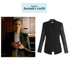"On the blog: Kate Beckett's (Stana Katic) black blazer with leather sleeves | Castle - ""The Way of the Ninja"" (Ep. 618) #tvstyle #tvfashion #outfits #fashion"