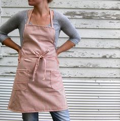 Rustic Full Kitchen Apron for Him or Her in Red Cotton Ticking