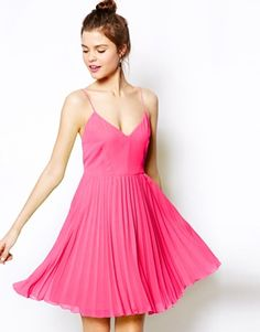 pleated hot pink dresses for your maids.