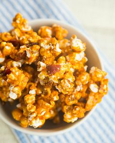 Bourbon Bacon Cashew Caramel Corn | browneyedbaker.com #recipe