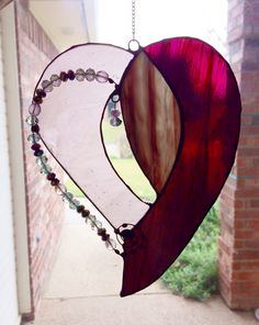 My mauve jeweled stained glass heart